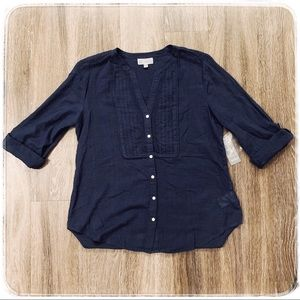 Navy blue JM collection roll up sleeve shirt